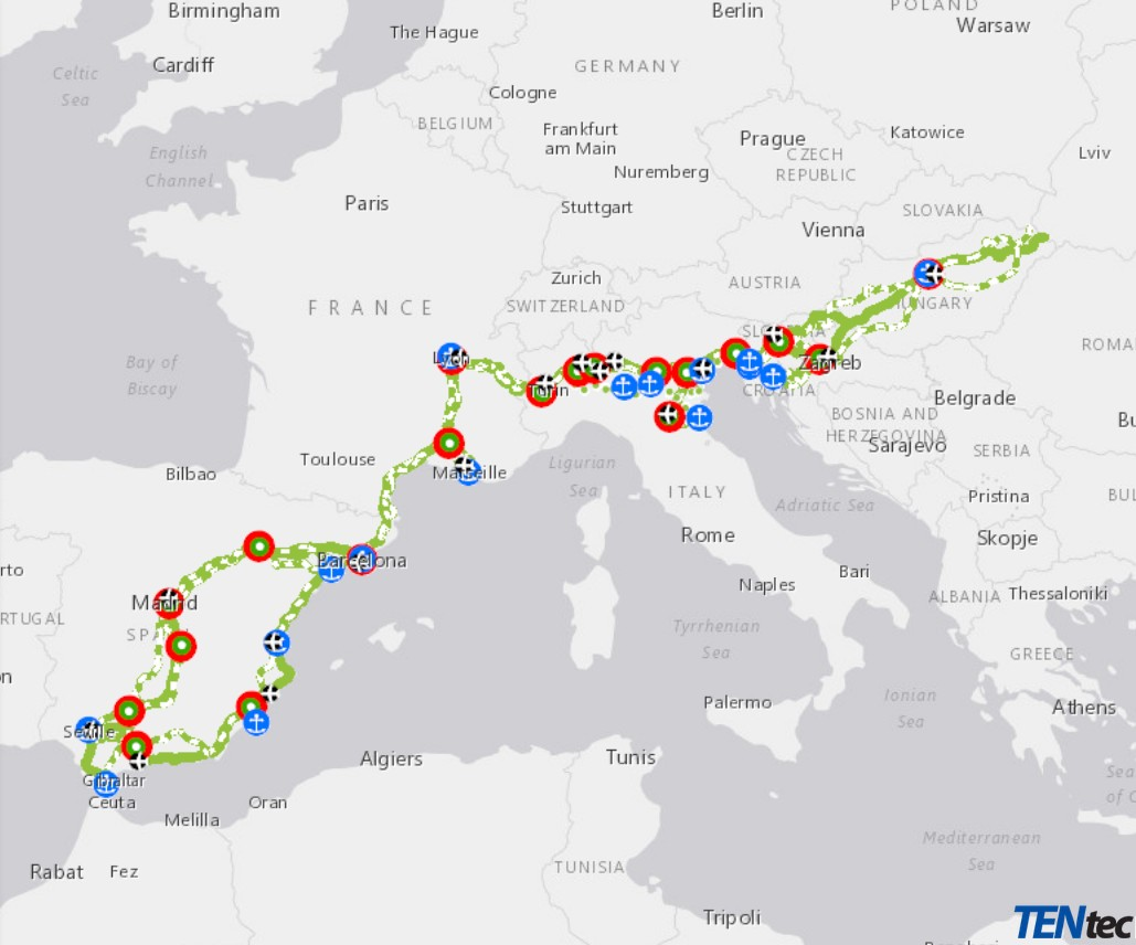 TENtec mapa, Izvor: https://ec.europa.eu/transport/themes/infrastructure/mediterranean_en